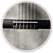 Guitar Abstract In Monochrome Round Beach Towel