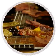 Guitar Autumn 2 Round Beach Towel