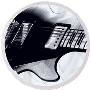 Guitar - Black And White Round Beach Towel