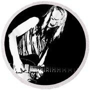 Fender Guitar Girl  Round Beach Towel