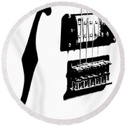 Guitar Graphic In Black And White  Round Beach Towel