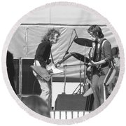 Guitar Interplay At The Day On The Green 6-6-76 Round Beach Towel