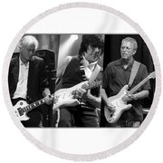 Guitar Legends Jimmy Page Jeff Beck And Eric Clapton Round Beach Towel