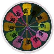 Guitar O Clock Round Beach Towel