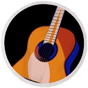 Guitar Of Colors Round Beach Towel