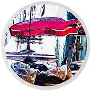 10261 Seasick Steve's Guitar On Drum Round Beach Towel