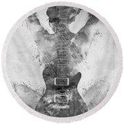 Guitar Siren In Black And White Round Beach Towel by Nikki Smith