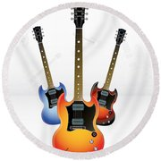 Guitar Style Round Beach Towel