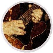 Guitar Tinted Copper Round Beach Towel