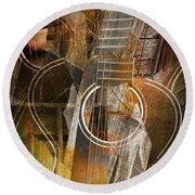 Guitar Works Round Beach Towel