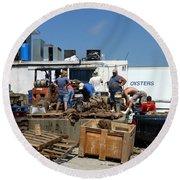 Gulf Coast Oyster Industry Round Beach Towel