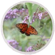 Gulf Fritillary Agraulis Vanillae-featured In Nature Photography-wildlife-newbies-comf Art Groups  Round Beach Towel