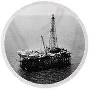 Gulf Of Mexico Oil Rig, 1950 Round Beach Towel