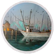 Gulf Shrimpers Round Beach Towel