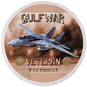 Gulf War Veteran F-14 Tomcat  Round Beach Towel