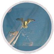 Gull Catching Popcorn Round Beach Towel