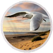 Gull On The Wing Over Beach Landscape Round Beach Towel