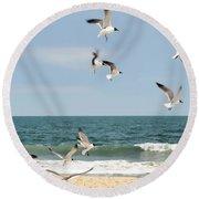 Gulls A Dance'n Round Beach Towel