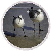 Gulls On The Beach Round Beach Towel