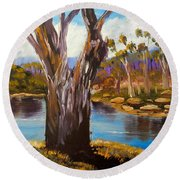 Gum Trees Of The Snowy River Round Beach Towel