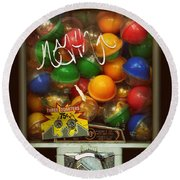 Series - Gumball Silver Bars With Graffiti - Iconic New York City Round Beach Towel