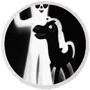 Gumby And Pokey B F F Black White Round Beach Towel
