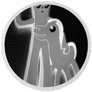 Gumby And Pokey B F F In Negative Black And White Round Beach Towel