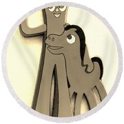 Gumby And Pokey B F F In Sepia Round Beach Towel