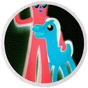 Gumby And Pokey B F F Negative Round Beach Towel