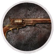 Gun - Colt Model 1851 - 36 Caliber Revolver Round Beach Towel by Mike Savad