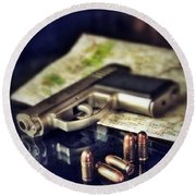 Gun With Bullets And Map Round Beach Towel by Jill Battaglia