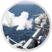 Gunners Mates Test Fire The Ships Round Beach Towel