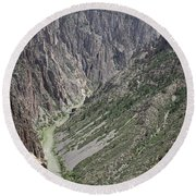 Gunnison River At The Base Of Black Canyon Of The Gunnison Round Beach Towel
