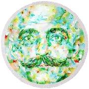Gurdjieff- Watercolor Portrait Round Beach Towel