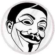 Guy Fawkes Face Original Pop Art Painting Round Beach Towel