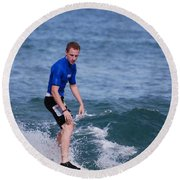 Guy Surfing Round Beach Towel