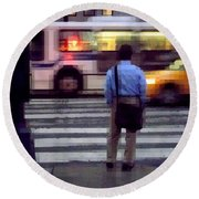 Crossing The Street - Traffic Round Beach Towel
