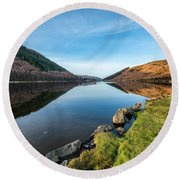 Gwydyr Forest Lake Round Beach Towel by Adrian Evans