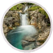 Gwynant Waterfall Round Beach Towel