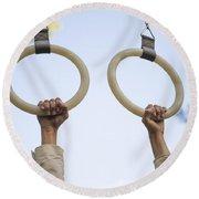 Gymnastic Rings Round Beach Towel