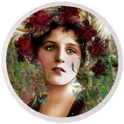 Gypsy Girl Of Autumn Vintage Round Beach Towel