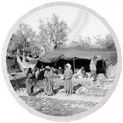 Gyspy Encampment, C1900 Round Beach Towel