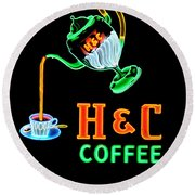 H And C Sign Round Beach Towel