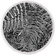 H Ferns Cont Z Round Beach Towel