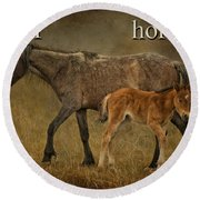 H Is For Horse Round Beach Towel