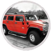Red Hummer H2 Series  Round Beach Towel