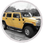 Hummer H2 Series Yellow Round Beach Towel