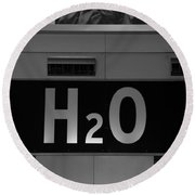 H2o In Black And White Round Beach Towel