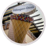 Haagen Dazs Ice Cream Signage Downtown Disneyland 01 Round Beach Towel