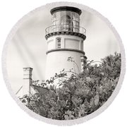 Haceta Head Lighthouse 2 Round Beach Towel